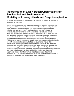 Incorporation of Leaf Nitrogen Observations for Biochemical and