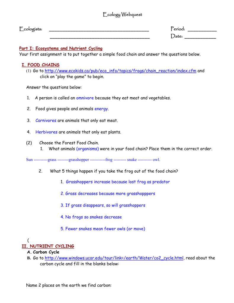 Ecology Webquest - PC\|MAC
