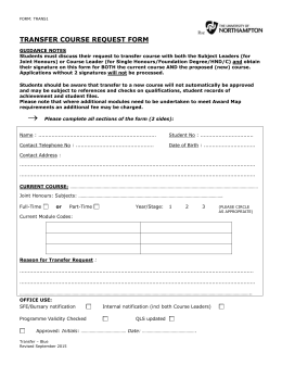 Course Transfer Form - The University of Northampton