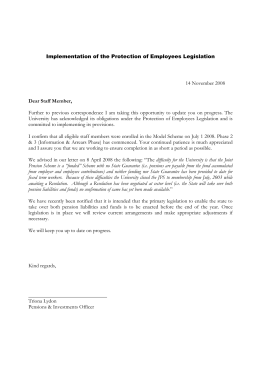 3. Implementation of the Protection of Employees Legislation