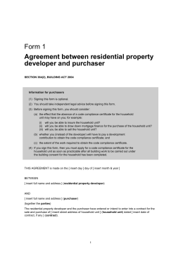 Agreement between residential property developer and purchaser