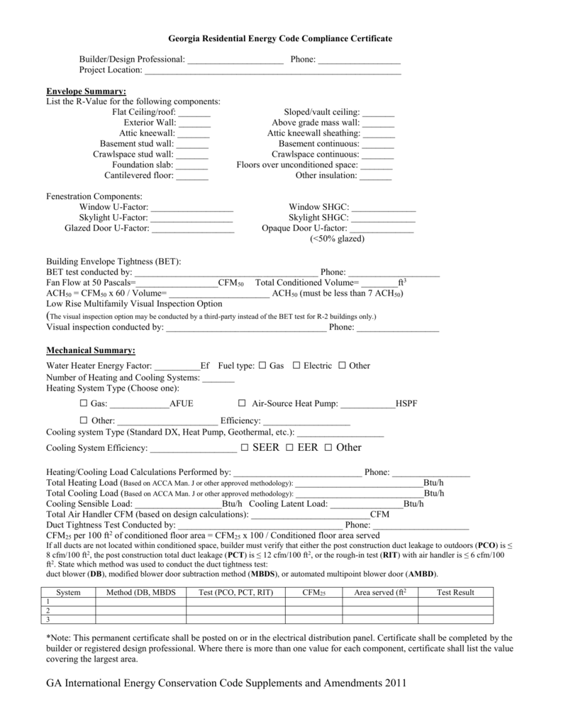 Georgia Residential Energy Code Compliance Certificate
