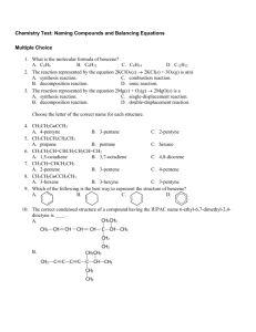 Chemistry Test: Naming Compounds and Balancing Equations