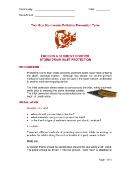 Tool Box Talks - storm drain inlet protection