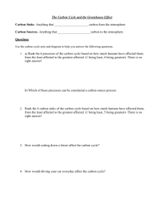 The Carbon Cycle and the Greenhouse Effect worksheet