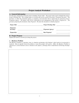 Project Analysis Worksheet