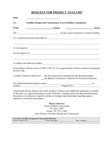 23. Project Analysis Form - Texas Facilities Commission