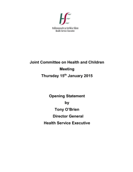 Joint Committee on Health and Children Meeting Thursday 15th