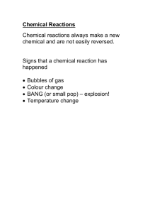 Notes on Unit 7F Simple Chemical Reactions