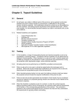 Chapter 5. Topsoil Guidelines