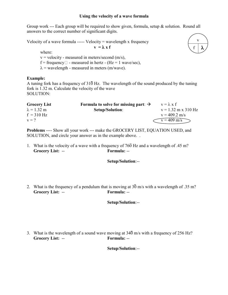 worksheet Wavelength Problems Worksheet wave formula worksheet