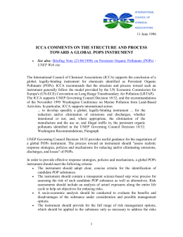 Comments on The Structure and Process toward a Global POPs