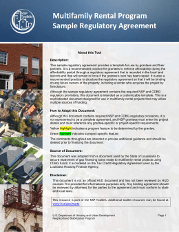 NSP Multifamily Rental Program Sample Regulatory Agreement