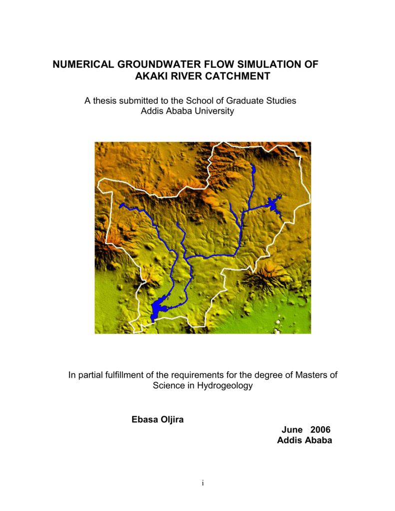numerical groundwater flow simulation of Akaki River Catchment