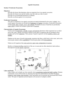 Aquatic Ecosystems Section 1 Freshwater Ecosystems Objectives