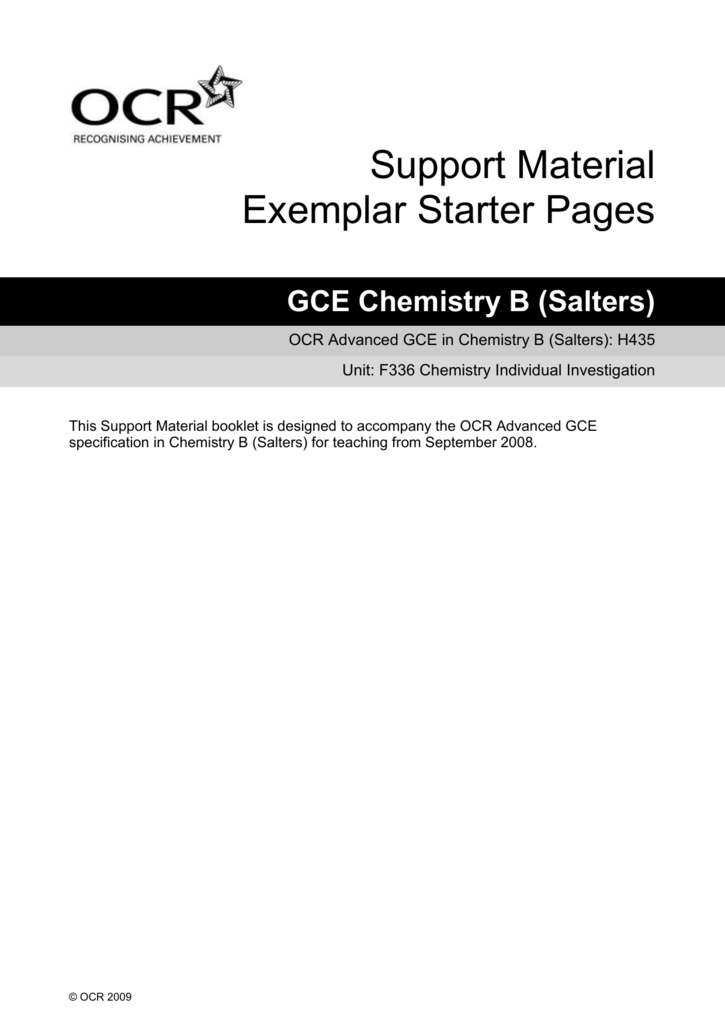 f336 chemistry coursework