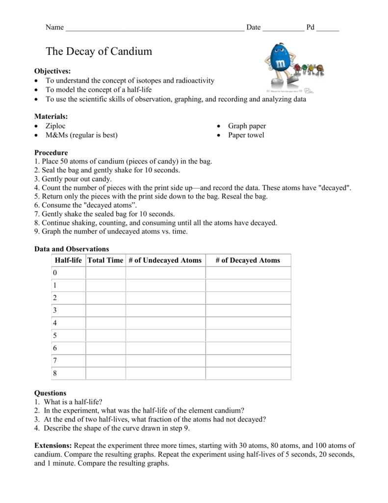 worksheet Half Life Graph Worksheet Answers decay of candium