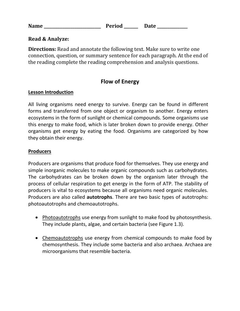 - Energy Flow Reading