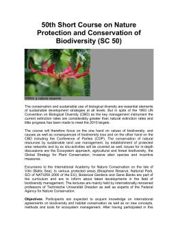 50th Short Course on Nature Protection and Conservation of