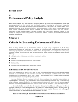 Chapter 9: CRITERIA FOR EVALUATING ENVIRONMENTAL
