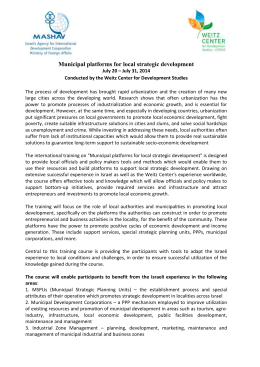 Municipal Platforms for Local Strategic Development