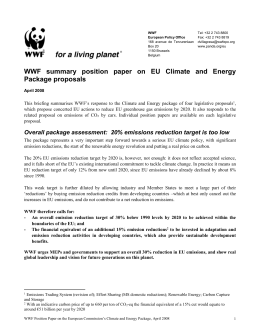 WWF summary position paper on EU Climate and Energy Package