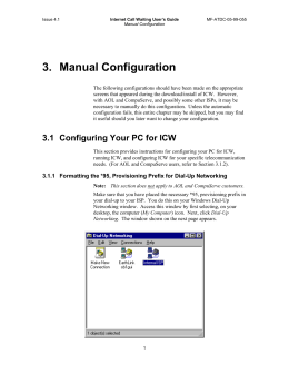 Section 3: Manual Configuration