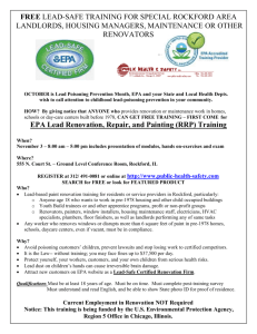 Free EPA Sponsored Training at these Cities (Locations and
