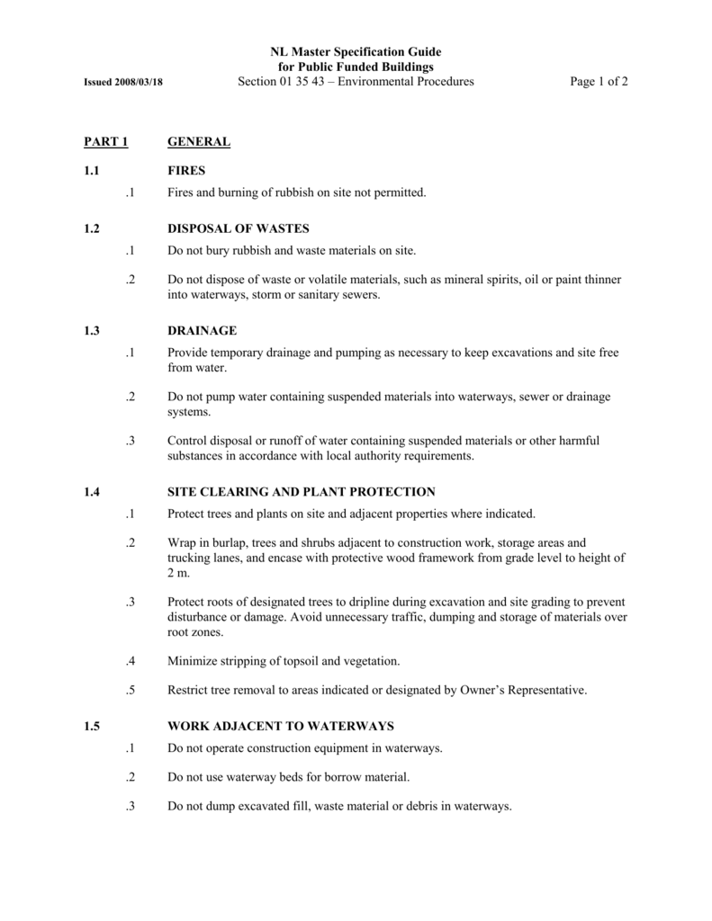 Section #01 35 43 - Environmental Procedures