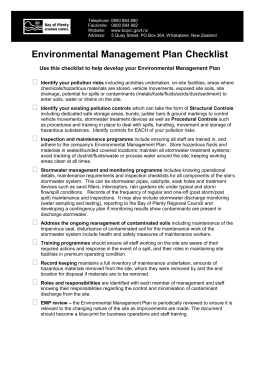 Environmental Management Plan Checklist