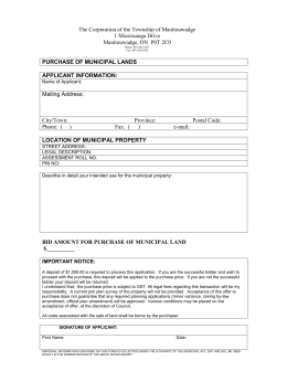 PURCHASE OF MUNICIPAL LANDS form