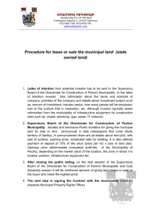 Procedure for lease or sale the municipal land
