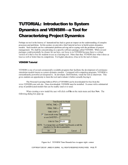 TUTORIAL: Introduction to System Dynamics and VENSIM—a Tool
