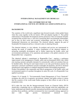 The contribution of the international council of chemicals