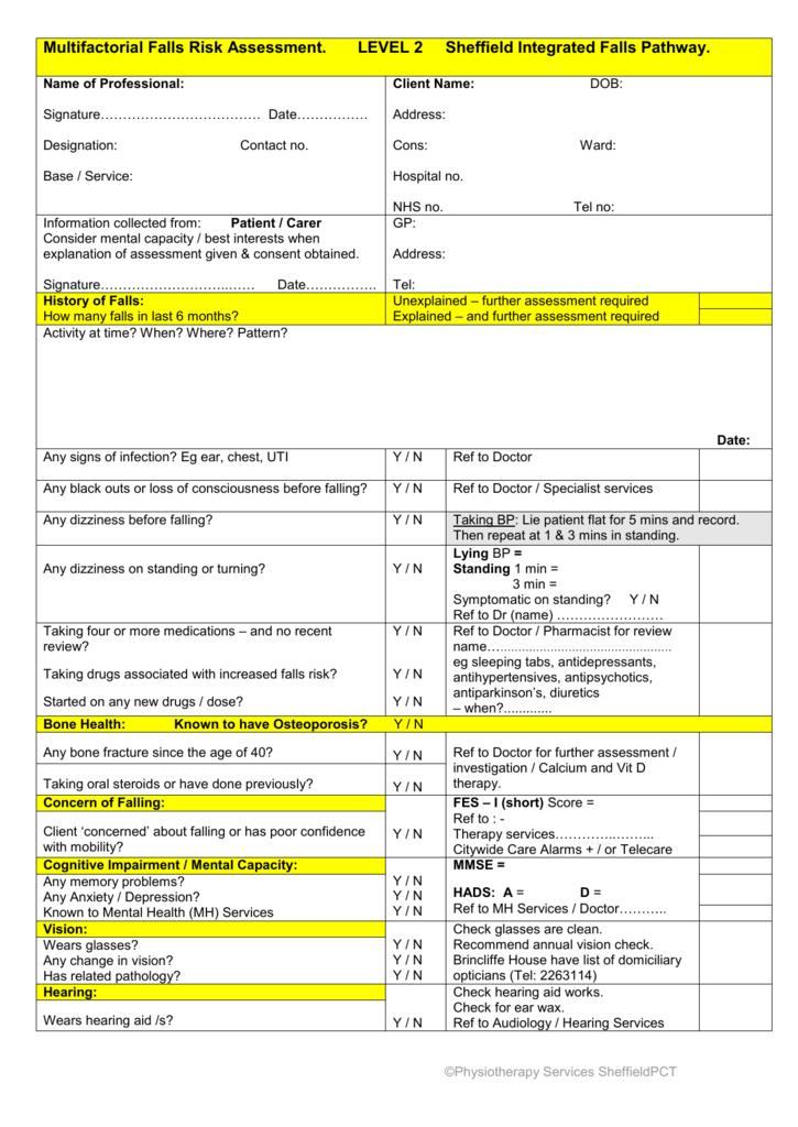 Multifactorial Falls Risk Assessment Form (MFFRA)