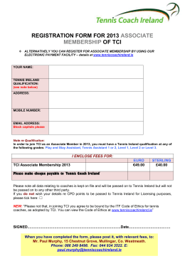 REGISTRATION FORM FOR 2013 ASSOCIATE MEMBERSHIP OF