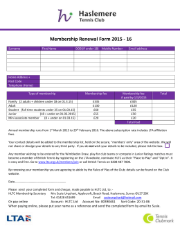 Membership renewal form 2015-16