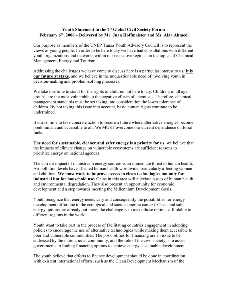Youth Statement to the 7th Global Civil Society Forum