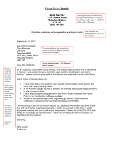 Careers Cover Letter Sample - Jane Career