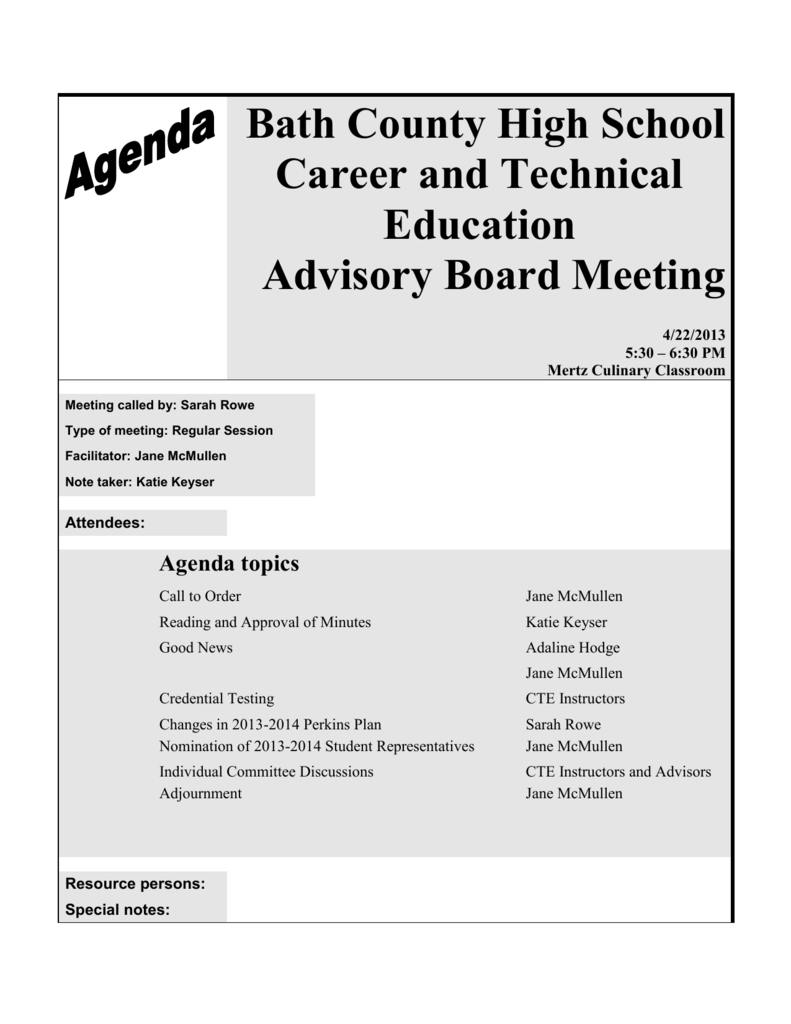 Bath County High School Career And Technical Education Advisory