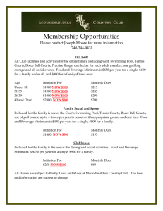 current Membership Pricing - Moundbuilders Country Club