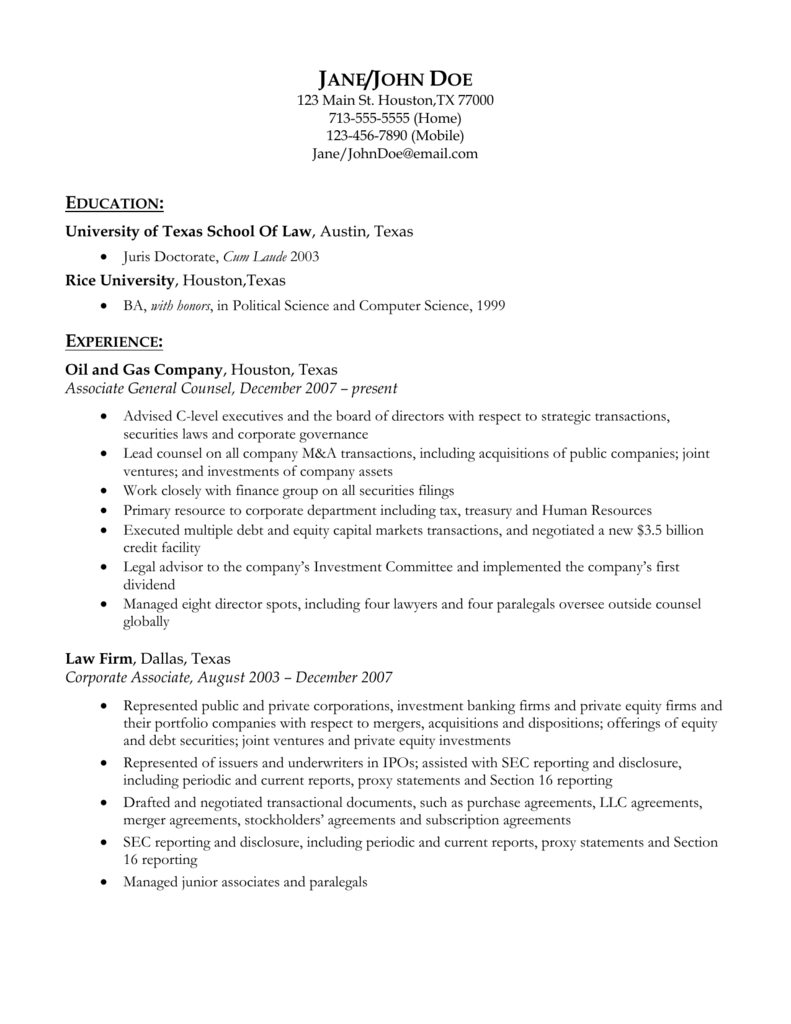 Resume Template Corporate