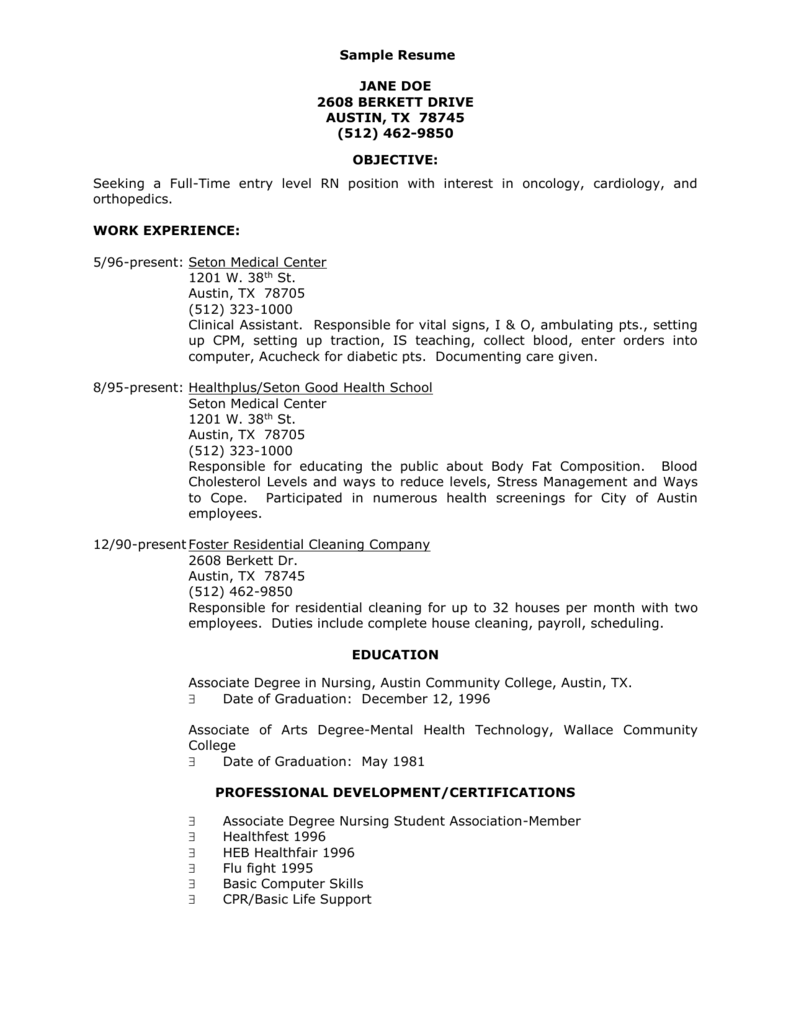 Learning Supplement Sample Resume