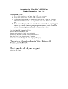 Newsletter for Miss Lisa`s VPK Class