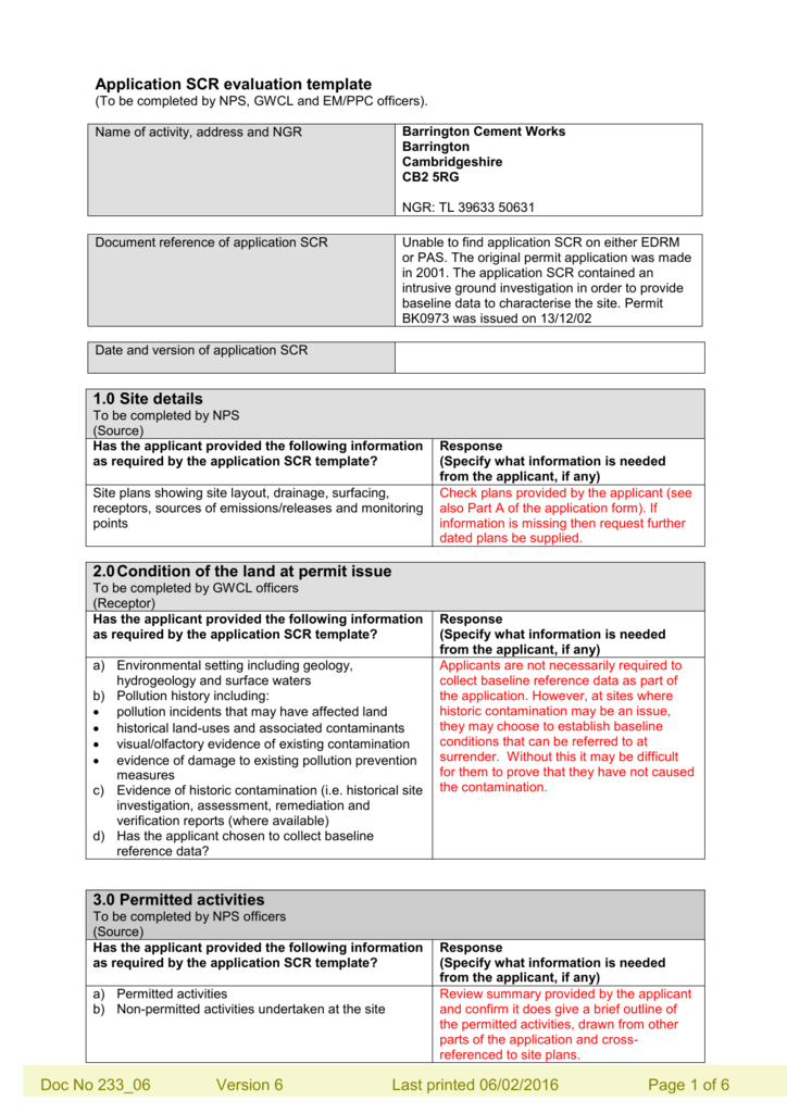 Site Condition Report Evaluation Template