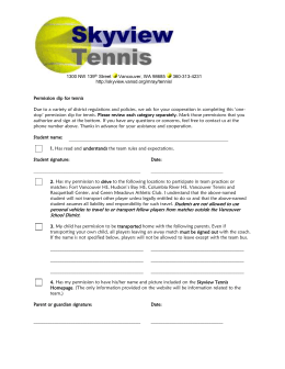 Permission slip for tennis