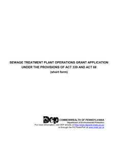 Sewage Treatment Plant Operations Grant Application