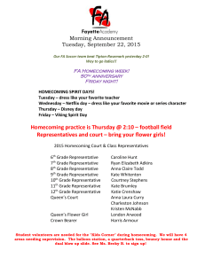 Morning Announcement Tuesday, September 22, 2015 Our FA