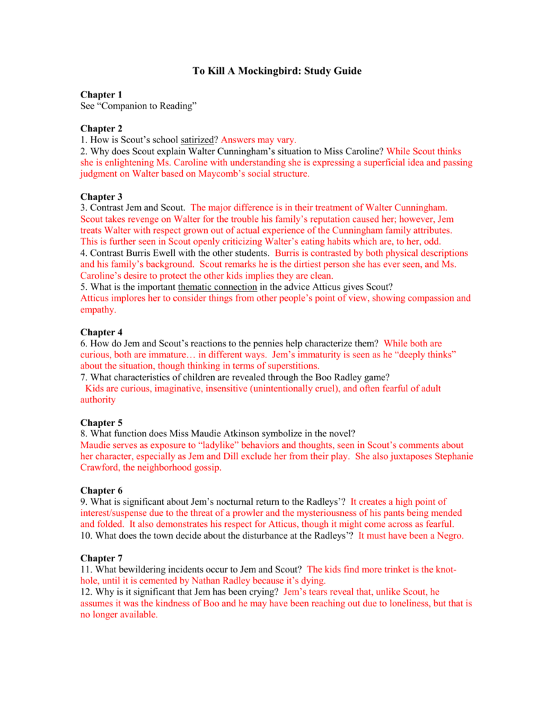 tkam study guide questions and answers 1 11