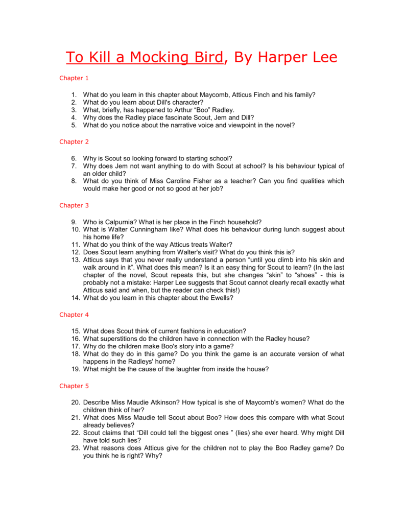 To Kill a Mocking Bird Study Questions